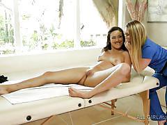 Hot blonde masseuse undresses