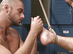 tattoo, locker room, foot fetish, tied up, gay handjob, gay blowjob, gay, rope bondage, men on edge, kink men, aarin asker