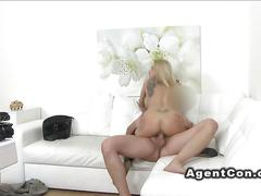 Big fake tits blonde banged in casting
