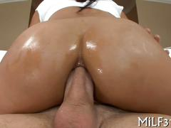Butt plugged latina bouncing impales her ass