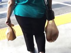 Candid mature granny booty