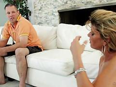 Frustrated wife kristal summers makes her cuckold hubby clean up