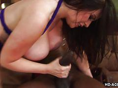Sexy israeli brunette milf sucks a black cock
