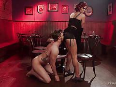 Redhead shemale make her man lick butthole