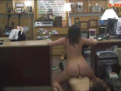 Customers wife gives head and gets banged in the backroom