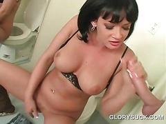Brunette caught masturbating eats gloryhole dick