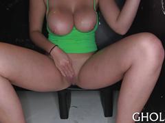 Big boob gloryhole slut fucks kinky strangers