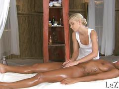 Ebony gets more than a massage from a lesbian
