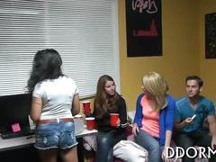 College girls hang out in their dorm and party
