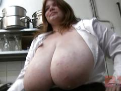 fetish, huge tits, bbw, fat, thick, hanging tits, bra less, cleavage, food, kitchen, solo woman, giant tits, mammoth tits, enormous tits