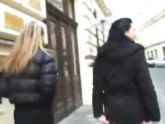 Czech babes having fun in public