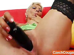 Orgasmic blonde mom and a huge dildo