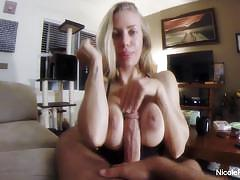 Blonde girl tossing off a cock