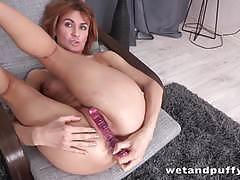 Dazzling brunette dildo fucks her hot pussy