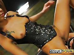 Tattooed mistress plays with her slave