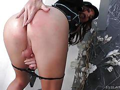Dangerous shemale plays with her dick