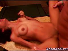 Petite hottie sucks cock