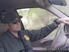 Slim stripper bribes border officer with her sweet pussy
