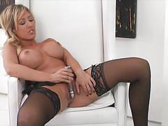 Stockings and solo action with capri cavanni