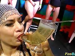 Wild horny babe drinks piss