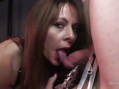 Wild babe femdom teases slaves dick