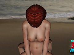 Sandy bottoms anime beach fuck