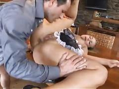 Blond maid gets anal fuck