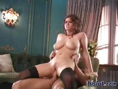 Busty brunette has a nice tit fucking session