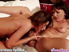 brunette, lesbian, milf, canadian, sweetheartvideo, natural-tits, girl-on-girl, big-tits, older-younger, mom, mother, lingerie, tribbing, scissoring, pussy-licking, hairy, fingering, female-orgasm