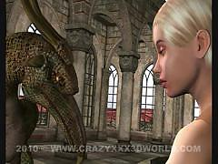 Hot blonde fucked hard by a dragon