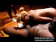 Young black teen gets gangbanged in swingers orgy video