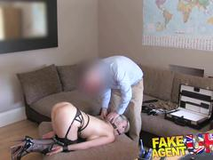 Fakeagentuk double penetration for big titted blonde in bdsm style adult casting
