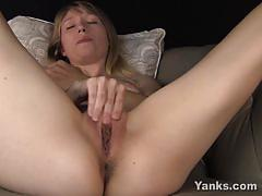 Sexy blonde masturbating her snatch