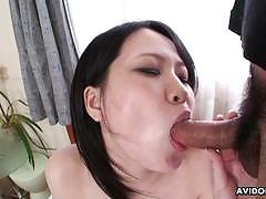 Vivacious brunette devours this hard cock