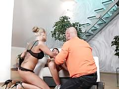 Cock slamming threesome with kayla green and susan ayn