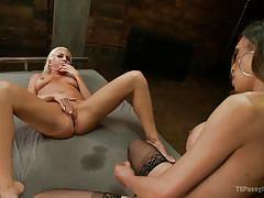 Blonde likes the domination of a ladyboy