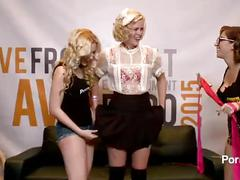 Samantha rone guides a great sybian ride in the pornhub booth at 2015 avn