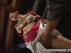 Hot asian lady tied up and fucked