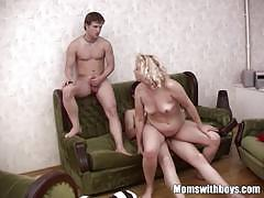 Blonde horny housewife rammed by two teenagers