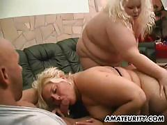 Amateur babes share this hard cock