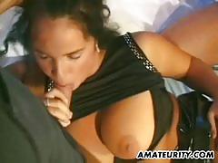 Busty amateur girlfriend threesome