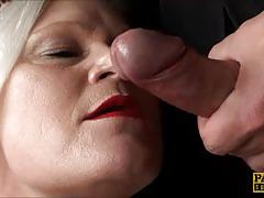 Shaved granny lacey starr sucks off business man
