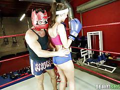 tattoo, babe, blowjob, kissing, brunette, workout, natural boobs, boxing ring, the real workout, team skeet, stella daniels