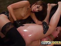 strap on, lesbian domination, vibrator, sex slave, tattoos, brunette babes, black gloves, rope bondage, pussy spreading, strapon squad, fetish network, autumn kline, esmi lee xx