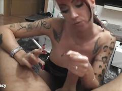 amateur, handjob, pov, smoking, homemade, kinky, mom, mother, hand-job, cigarette, tattoo, cum, point-of-view, milf, big-tits, natural-boobs