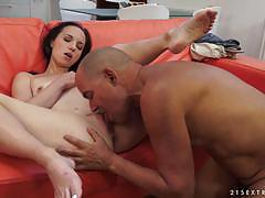 Fresh brunette girl gets old mans cock stuffed inside her