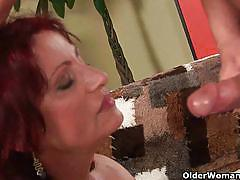 Dudes cumming on mature wanda and dorothy's mouth