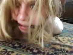 Pretty blonde tied up, gagged and fucked by a false cop