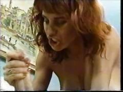 Redhead with large tits sucks & rides reverse cowgirl