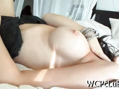 Fine raven caresses her body and gets smacked with black dick